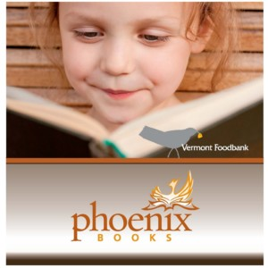 Phoenix Books Logo and Vermont Food Bank Logo