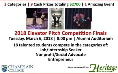 Champlain College Elevator Pitch Competition | Tuesday, March 6, 2018