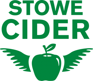 stowe cider logo, green apple with wings