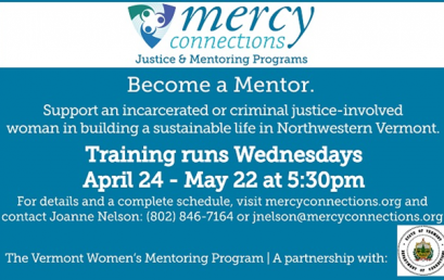 Mercy Connections Vermont Women's Mentoring Program Training