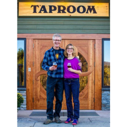 Lawsons Finest Liquids, Sean & Karen Lawson, Vt Small Business Persons of the Year , in front of Lawson's Taproom