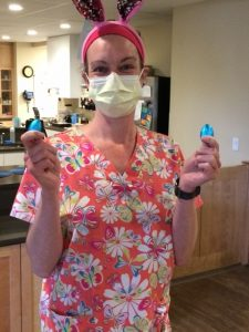 Healthcare staff holds chocolate eggs donated by Lake Champlain Chocolates