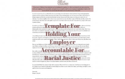 Template For Holding Your Employer Accountable For Racial Justice