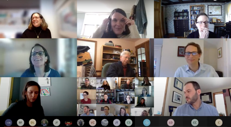 Climate council zoom meeting screenshot with faces of council members